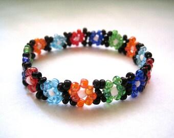 Rainbow Seed Bead Bracelet, 90s Bracelet, Stretchy Bracelet, Club Kid, Floral Pattern, Daisy Chain