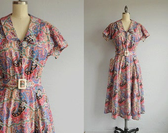 Vintage 1970s Dress / 70s Liberty of London Paisley Print Cotton Floral Day Dress / 70s Does 30s Shirtdress