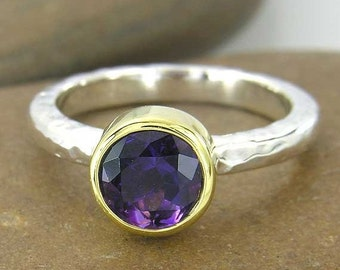 SALE 2 days only 14k yellow gold grape amethyst ring, made to order, YOUR RING Size, grape purple february birthstone sterling silver