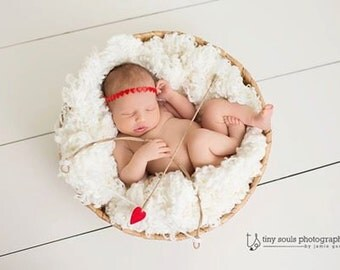 Heart Halo with Lil Cupid Heart Bow and Arrow Set - Perfect Valentines Day or Sweethearts Boy or Girl Newborn Photo Prop