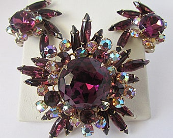 Pretty 1960's Purple Starburst Rhinestone Brooch and Clip Earrings Set Large Center Stone Aurora Borealis Stones