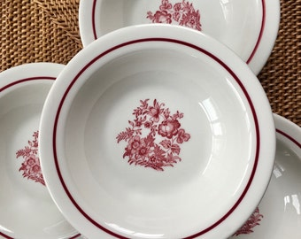 Cereal or Soup Bowls, Pretty Red Floral Restaurant Ware by Jackson China ca. 1950s