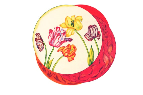 Feng Shui's Fire Element as a Tulip Composition, Red Tulips, Symbol of Passion, Fire & Warmth, Red Flowers Art Print of Drawing.