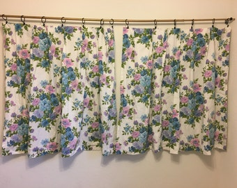 Vintage Curtains, Purple and Blue Floral Curtains, Vintage White Curtains, Short Curtains, Bedroom Curtains, Floral Curtains