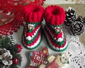 CROCHET PATTERN Baby Booties - Christmas Baby Booties - Christmas Bells Baby crochet Shoes Pattern handmade baby booties Instant Download