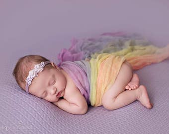 "Rainbow Cheesecloth 32""x32""  Newborn photography Props"