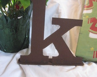 "Ready To Ship!  Lowercase metal letter ""k"" on stand"