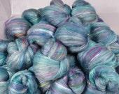 Fiber Batts - Scales - (4 oz.) 30% Local Romney fleece, bfl, merino, silk, bamboo,silk noil, angelina