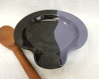 Large Stoneware Pottery/Ceramic Spoon Rest in Purple and Black High Fire Glaze