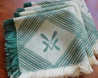 Vintage Napkins Linen Cocktail Lunch Green Four 4 Woven Cloth White