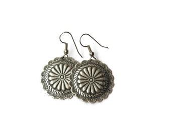 Vintage Boho Floral Pewter Earrings