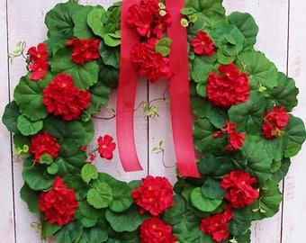 Geranium Wreath-Red Geranium Wreath-Summer Wreath-Year Round Wreath-Year Round Decor-Floral Wreath-RED GERANIUM Floral Door Wreath-Wreaths