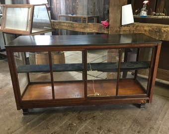 Price Reduced!  Antique Wood and Glass Store Display Case,Mercantile Counter,early american
