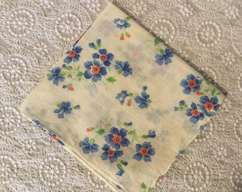 Vintage Print Handkerchief,Something Blue,Bridal Hankie