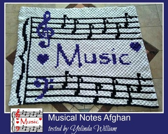 C2C Graph, Musical Afghan C2C Graph with Word Chart