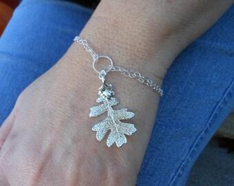 Oak Leaf Bracelet, Sterling Silver Bracelet, Silver Dipped Leaf, Adjustable Bracelet, Real Leaf,Jewelry from Nature,Silver Leaf,Fall Wedding