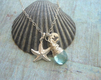 Starfish Necklace, Gemstone Necklace, Beach Lover, Personalized Necklace, Wire Wrapped, Artisan,Sterling Silver, Silver Star Fish, Summer
