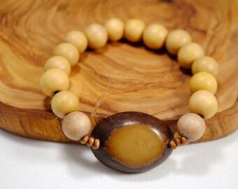 Brown Tagua Nut and Wood Beaded Stretch Bracelet Boho Earthy Eco-friendly