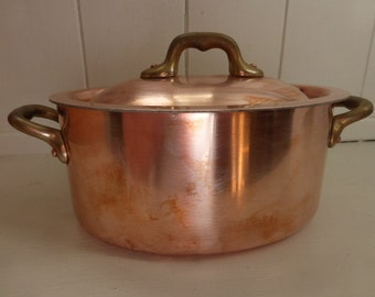 Small Vintage Professional Lidded Copper Stew, Casserole Pan, Unused