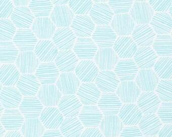 Hatchmarks Turquoise - Interlock Knits - Organic Cotton - Cloud 9 Fabrics - 1 Yard
