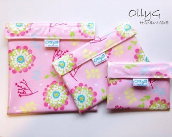 FOOD SAFE - Re-Useable Sandwich snack bags - Pink flowers