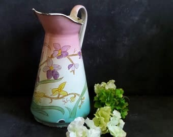 French large vintage enamel pitcher, French enamelware vase shabby chic  french country decor .