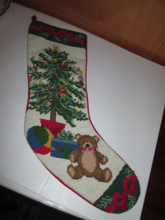 Vintage Needlepoint Christmas Stockings.Christmas Tree Needlepoint Stockings Christmas Wikii