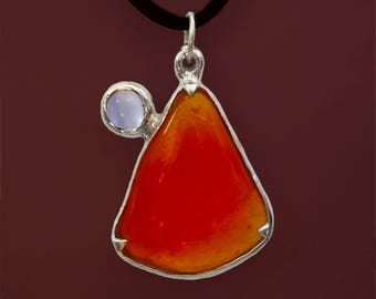 Fire opal and moonstone pendant - solid sterling silver
