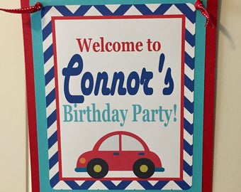 LITTLE CAR Theme Party Happy Birthday Party or Baby Shower Door or Welcome Sign Gray - Party Packs Available - Red Blue