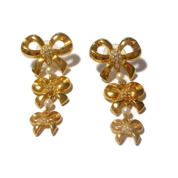 Designer Bow earrings, bow charms dangling from bow studs, faux pearls and rhinestone, designer signed WD, gold tone pierced