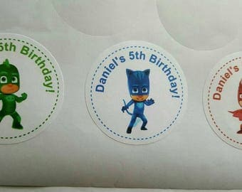 """12 Pj Masks personalized favor tags, 2"""" stickers"""