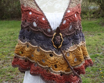 Just completed Hand Crocheted Shawl with Shawl pin       FREE SHIPPING