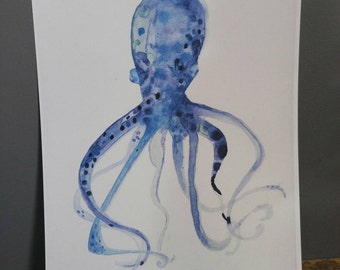 Print of original artwork watercolor ocean octopus vibrant children nursery decor nautical whimsical creature purple green blue underwater