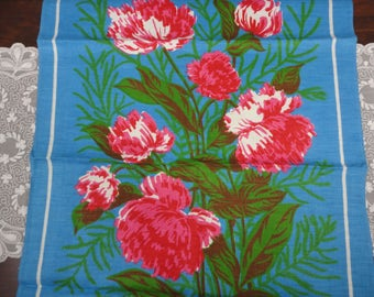 Vintage Lamont Floral LInen Hand Towel - Sky Blue with Hot Pink Peonies - Unused - Made in Ireland