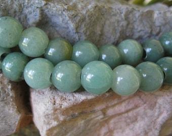 Large Hole Bead Aventurine 2.5 mm Hole 10 Big 10 MM Round Beads Fit Leather