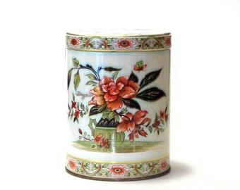 Art Nouveau Orange Mum Tin Florals in Green Vase Made in England Metal Trinket Box Desk Can Stash Box