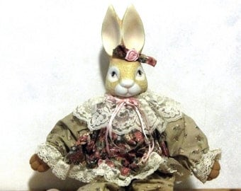 Wendy Wabbit Bunny House of Lloyd Stuffed Rabbit Porcelain Bisque Head Lace Collar Flowered Dress Ribbons and Roses Collectible Easter Gift