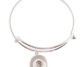 """1 Bangle Bracelet - 8"""" FITS 18MM Candy Snap Charm Jewelry Silver kc0655 CJ0658"""