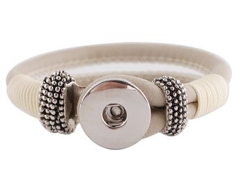 """1 Ivory Leather Bracelet - 7.5"""" FITS 18MM Snap Charm KC0021 Cj0677"""