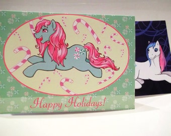 My Little Pony - Minty G3/Gingerbread G1 Christmas Card - Matte, blank inside