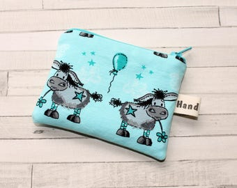 Coin purse, change purse, turquoise blue with donkeys