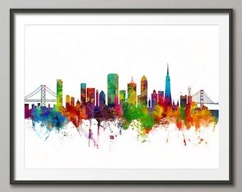 San Francisco Skyline v2, San Francisco California Cityscape Art Print (2628)