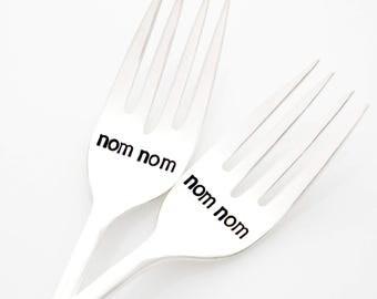 nom nom, Hand Stamped vintage forks. Unique Foodie Gift Idea, photo prop by Milk & Honey.