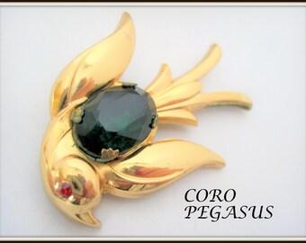 Coro Bird Brooch - Vintage 50's Pegasus Signed - Green Glass Cabachon Body - Red Rhinestone Eye-  Vintage Pin