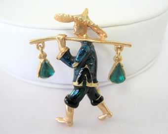 Asian Man Water Carrier Brooch - Green Rhinestones - Green Enamel Setting - Rhinestone Dangles - Mid Century Pin
