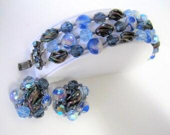 Blue Glass  Bracelet and Earrings -  Art Glass Lampwork - Rhinestones Clasp - Triple Strand