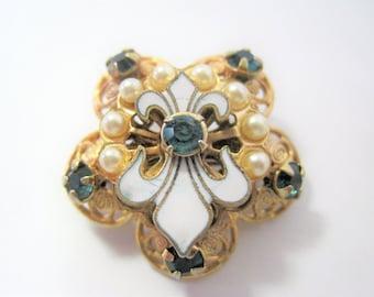 Fleur de Lis Brooch - Enamel  Faux Pearls -Vintage Gold Tone - Victorian Revival Book Chain