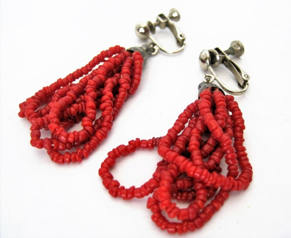 Red Coral Bead Earrings - Boho Style - Glass Beads 5 Loops - Clip On Earrings