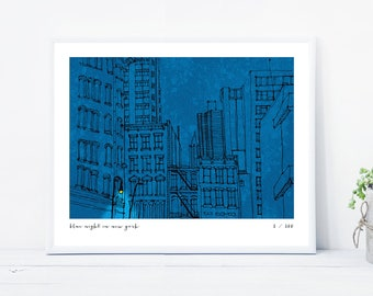 Blue Night in New York Limited Edition Numbered Print