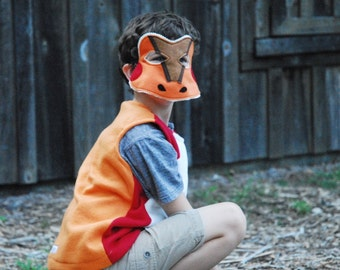 Northern Red Legged Frog Costume - Mask, Vest, Mask & Vest Combo